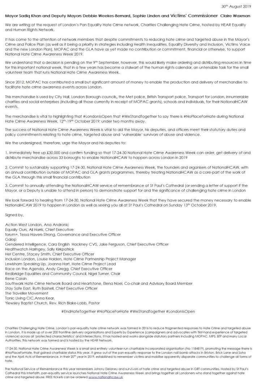 Open letter to Mayor NHCAW